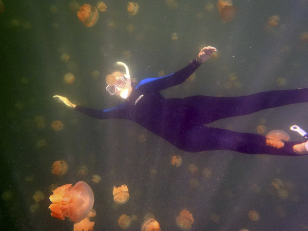 Susan in Jellyfish Lake